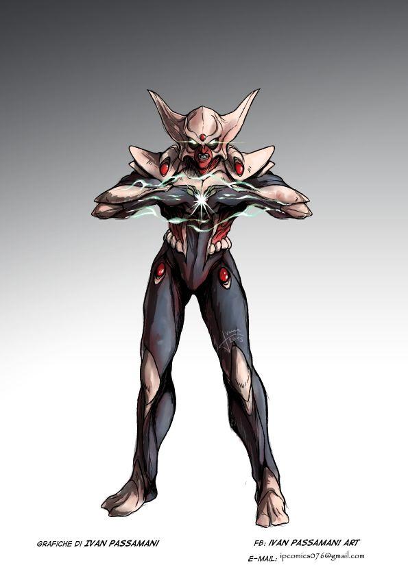 Concept Art di Hiroshi nella fase di pre trasformazione Jeeg Robot d'Acciaio.