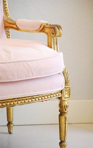 Pink and gold dining room chair