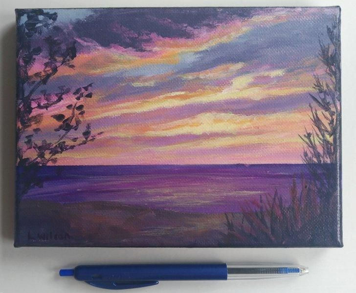 Pink Sunset over the Beach, Seascape painting, Acrylic on canvas