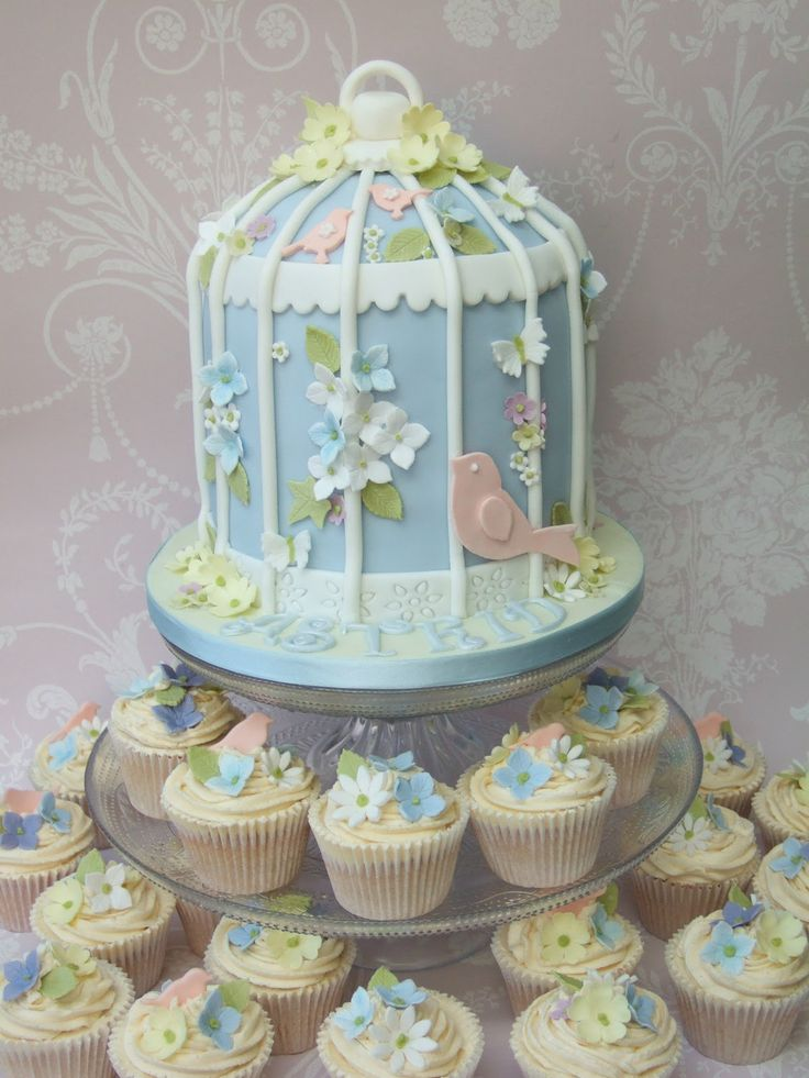 Bird cage cake and cupcakes..