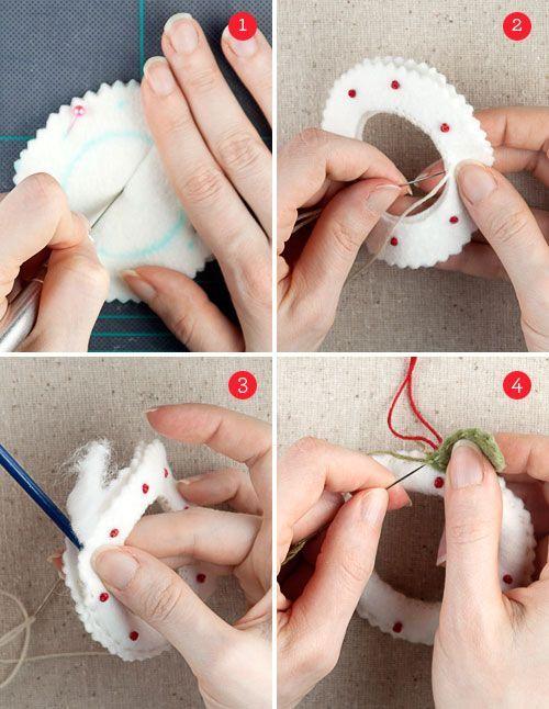 How to Make Felt Wreath Ornaments