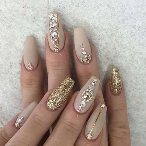 cute nails beige and gold  nail art rhinestones