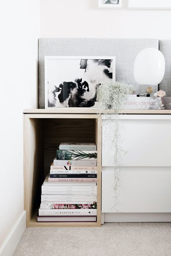 Combine drawers and open shelving (boxes) for bedside storage, or as low storage/seating along a room.