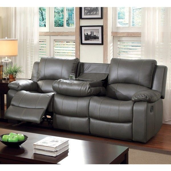Furniture Of America Rembren Grey Bonded Leather Reclining Sofa 944 Liked On Polyvo Leather Couches Living Room Leather Reclining Sofa Grey Reclining Sofa