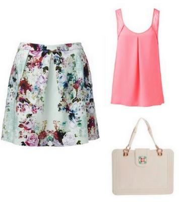 Floral desenli eteği, şeker pembesi bluzla birleştirerek yeni sezonu karşılamaya hazır olun.