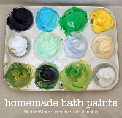 homemade bath paint recipe for sensory play. Shaving cream and food coloring gel!