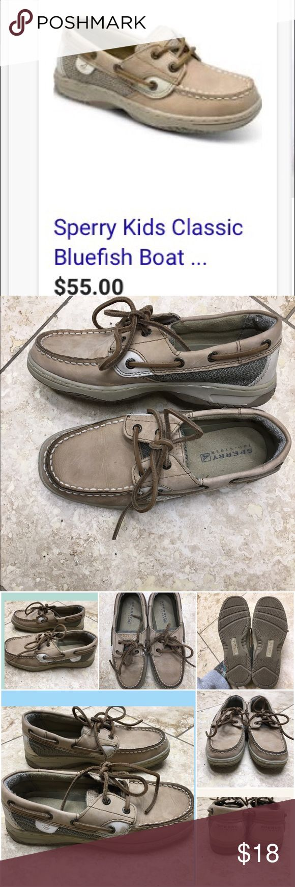 💥sale💥 Sperry Kid's classic Bluefish boat shoes In used condition, these still have a lot of wear left in them. They are perfectly broken in, and the leather is still in awesome condition. The shoestrings are also in great shape. Size 3 in kids. Sperry Shoes Slippers