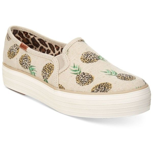 Keds Women's Triple Decker Slip-On Sneakers (2,755 DOP) ❤ liked on Polyvore featuring shoes, sneakers, natural pineapple, slip on shoes, keds shoes, leopard sneakers, leopard slip on sneakers and slip-on shoes