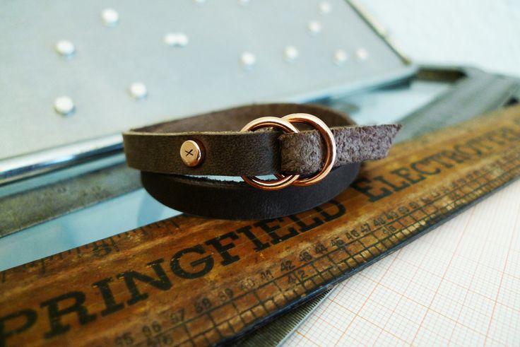 www.877workshop.com — Men's bracelet wrapped brown leather copper