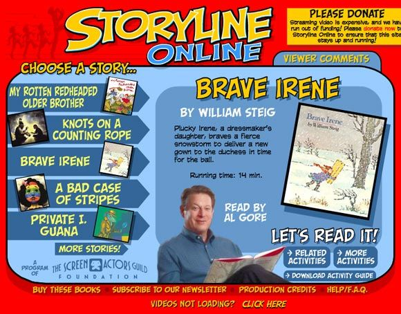 Listen to Reading: 10 websites for childrens stories online. I used storyline online often to entertain my students while putting out cots...it's great!