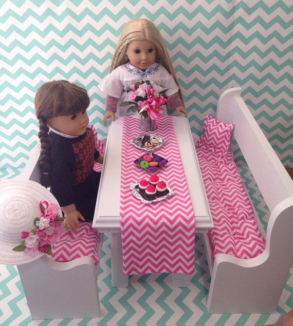 Table and two benches in white fits American Girl Doll, battat, children chairs, doll furniture, minature 18 inch dolls