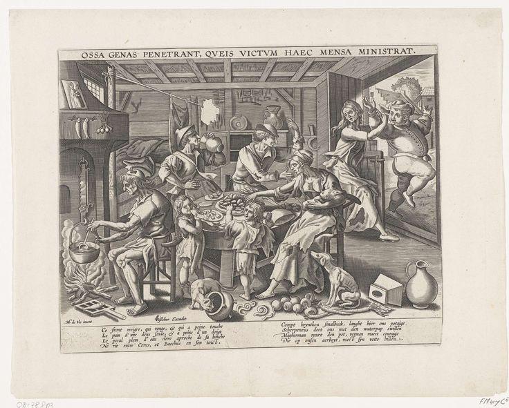 Anonymous | De magere keuken, Anonymous, Claes Jansz. Visscher (II), 1563 - 1599 | De magere keuken. Interieur waarin een groep van magere mensen aan een tafel mosselen eten. Een vrouw geeft een kind de borst, een man roert in een ketel op het vuur. Rechtsboven probeert een magere vrouw een dikke man buiten de deur te houden. Met onderschrift van vier regels in het Frans en vier regels in het Nederlands en een opschrift van een regel in het Latijn. Zie pendant.