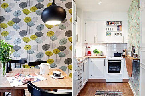 Обои тоже подойдут, а в выборе лучше остановиться на традиционных шведских фирмах, не понаслышке знающих, что такое скандинавский дизайн. Например, на таких как Boråstapeter и ECO wallpaper. Обои могут быть как однотонными, так и содержать рисунок, — в таком случае можно обыграть его с другими деталями в интерьере кухни.