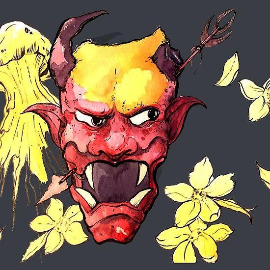 Oni + Jelleyfish #oni, #demon, #mask, #Japan, #Japanese, #folklore, #watercolors, #floral, #flowers, #jellyfish, #traditionalart