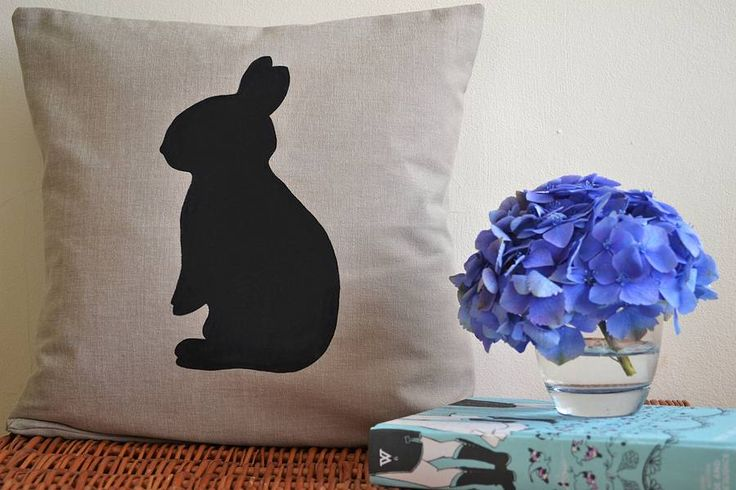 Children's rabbit silhouette cushion - Bluebells and Bunting at www.notonthehighstreet.com