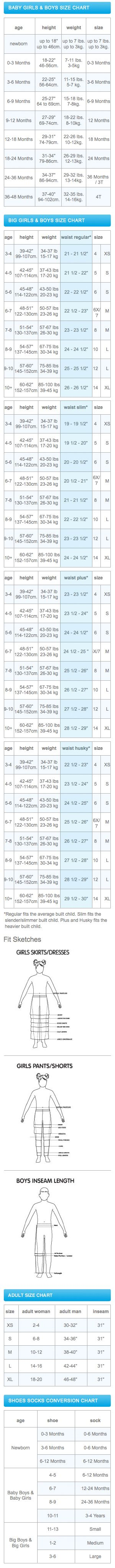 Size chart for my nieces and nephews! It's been a long time since I've bought for little ones.