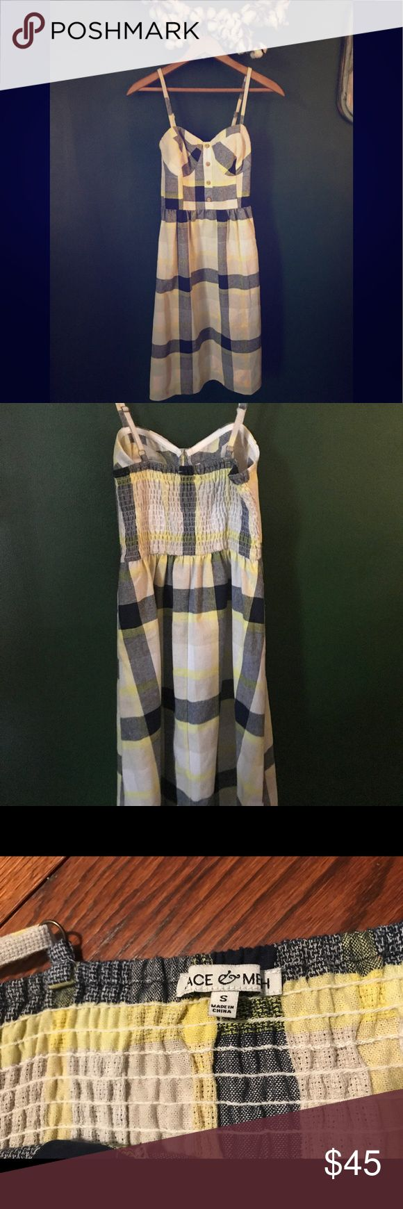 Mod Cloth Picnic Dress Flattering Mod Cloth Dress in Cheerful Blue and Yellow Plaid. Size Small. Fabric is a Linen, Cotton, Viscose Blend. Worn once with lots of compliments. Perfect for picnics, parties, and would pack well for travel. Modcloth Dresses Midi