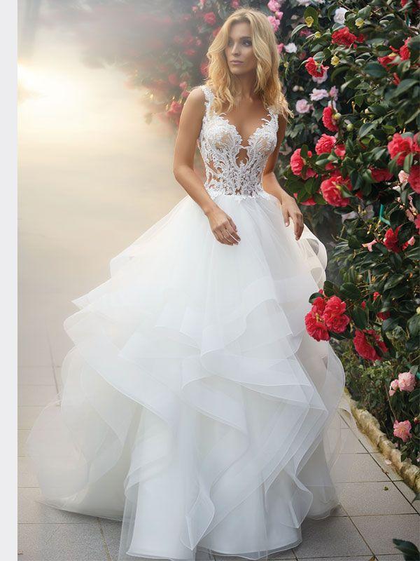 Brautkleid mit Volantrock, Tattoo-Spitze und raffi…