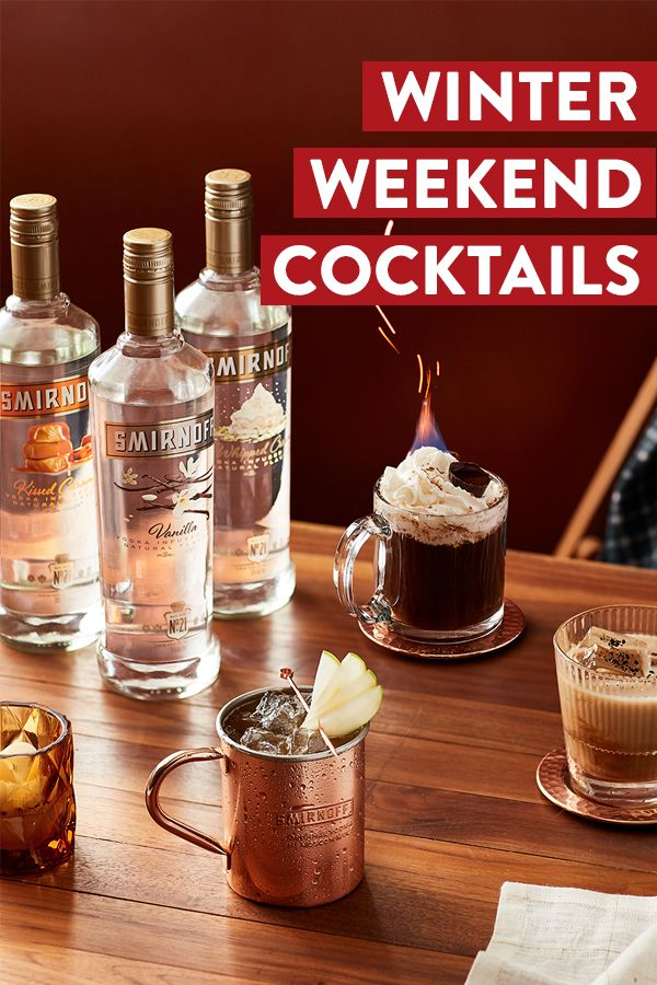 Check out these delicious winter cocktail recipes from Smirnoff, the world's number one name in flavors.  Recipes: Caramel Apple Mule: 1.5 oz Smirnoff Caramel, 0.5 oz lime juice, 3.5 oz apple cider, 4 oz ginger beer. Serve over ice in a mug. Garnish with apple slice. Vanilla White Russian: 1.5 oz Smirnoff Vanilla, 0.5 oz coffee, heavy cream, to fill. Serve over ice in a glass.  Frosty Coffee: 1.5 oz Smirnoff Whipped Cream, 6 oz coffee, whipped cream. Serve in a mug topped with whipped cream.
