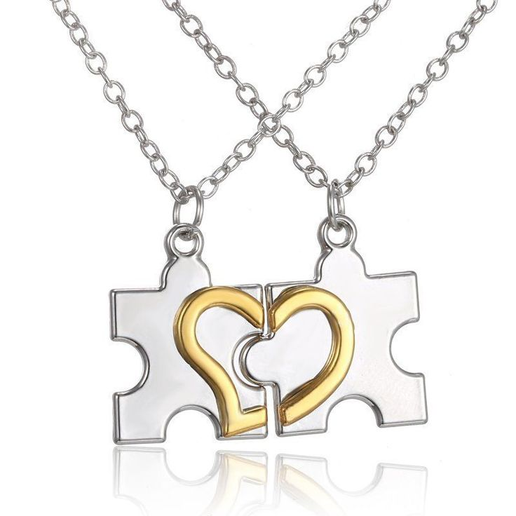 2pcs Matching Couple Necklace Set Puzzle Piece Silver & Gold Tone Heart His Hers #Unbranded #Pendant