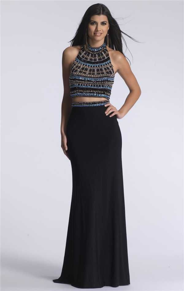 Black Two Piece Beaded Dave and Johnny 1370 Long Prom Dresses Hotsale