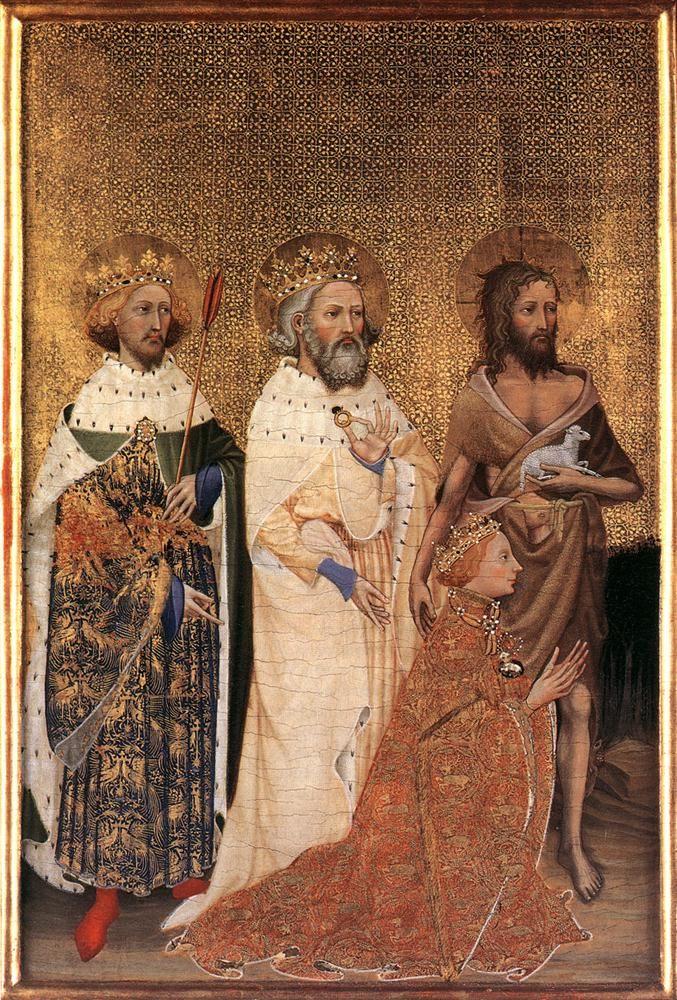 Le diptyque de Wilton est un petit retable portatif constitué de deux panneaux articulés peints des deux côtés, réalisé vers 1395-1399 par un maître anonyme, Représentatif du style gothique international, il est l'une des rares peintures religieuses anglaises du Moyen Âge tardif qui soient parvenues jusqu'à nous.  Il est aujourd'hui la propriété de la National Gallery de Londres. tempera sur panneaux de chêne. (chaque panneau) 53 cm × 37 cm