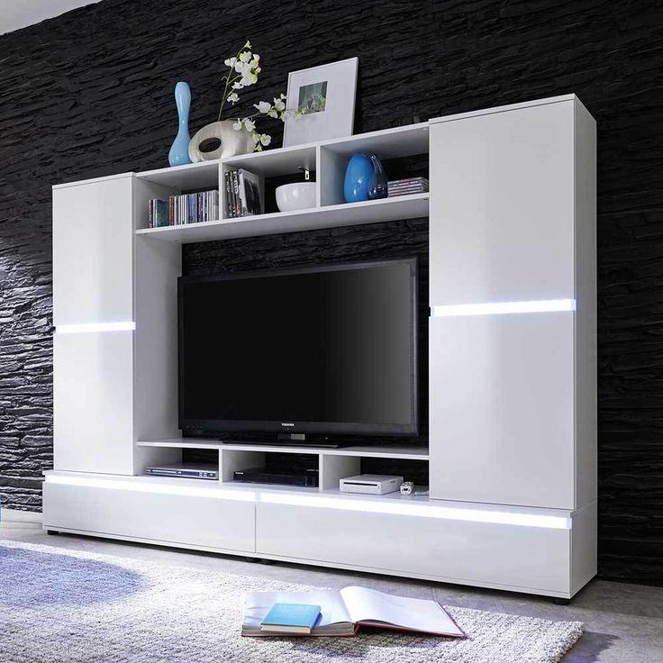 Nice TV Wand in Hochglanz Wei Wechsellicht Wohnzimmer ue TV HiFi M bel ue TV