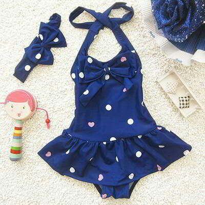 JRK Kids Heart Child Swimwear With Hair Band Sapphire Blue | pinknee.com