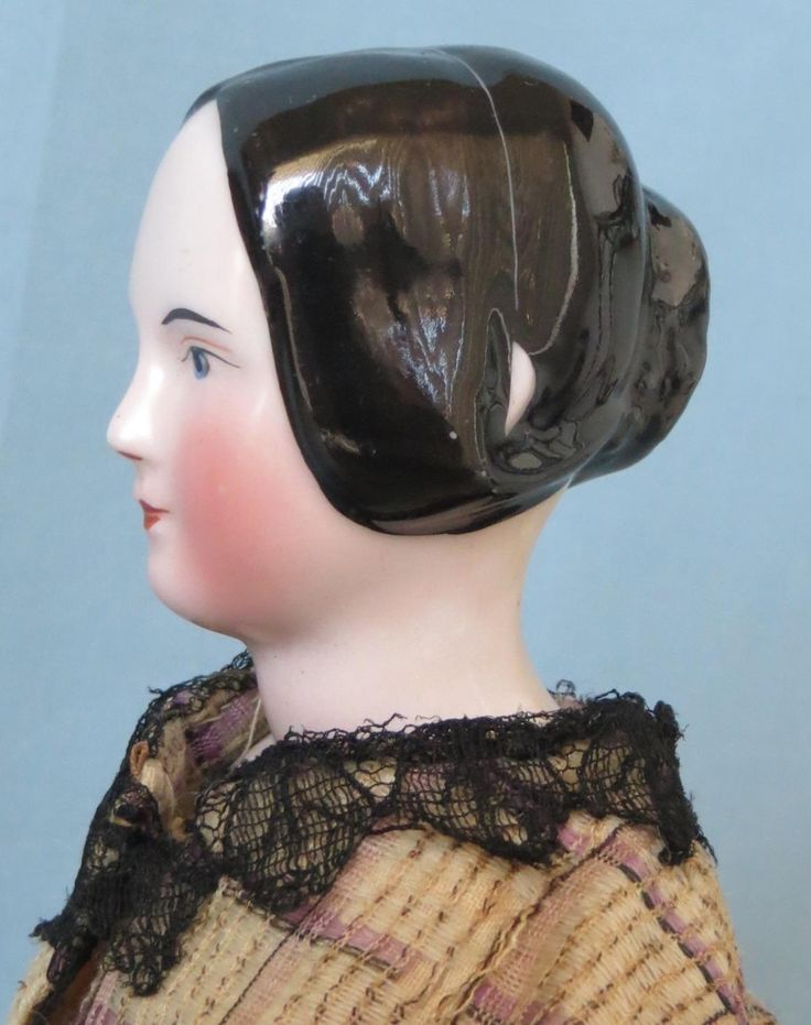 Rare 1840-1850 Antique China Head Doll with Open Ears And a Braided from abigailsattic on Ruby Lane