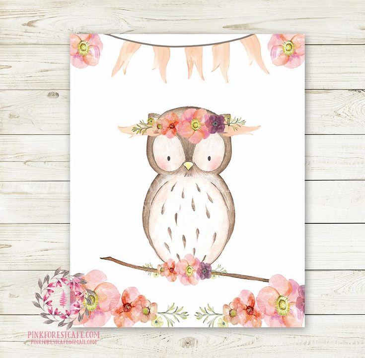 Boho Owl Bohemian Wall Art Print Blush Floral Woodland Nursery Baby Girl Room Printable Decor