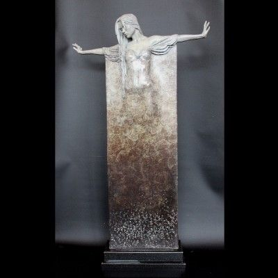 Ophelia, a limited edition, patinated figure of a dancer in long, draping robe by Michael James Talbot b.1959. Set onto a granite plinth.