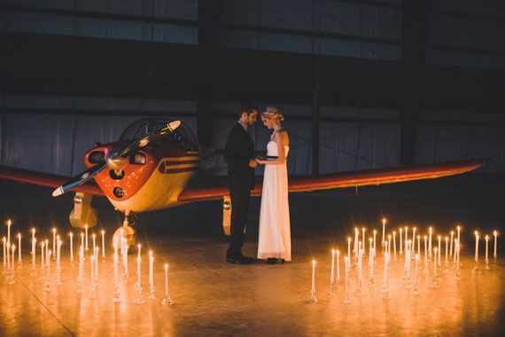 Airplane hangar wedding inspiration | Photo by Whitney Bennett Photography | Read more - http://www.100layercake.com/blog/?p=75974 #aviationideas
