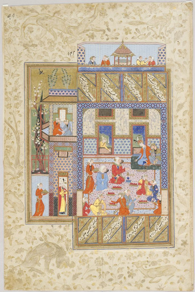 Khusraw and Shirin with Courtiers and Pomegranates (painting, verso; text, recto), folio from a manuscript of the Khamsa (Khusraw and Shirin) by Nizami Other Titles Series/Book Title: Khamsa (Khusraw and Shirin) by Nizami Classification Manuscripts Work Type manuscript folio Date 1584 Places Creation Place: Middle East, Iran, Shiraz Period Safavid period Culture Persian