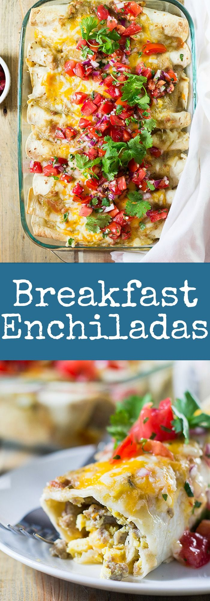 Breakfast Enchiladas are filled with scrambled eggs, sausage, green chilies and…