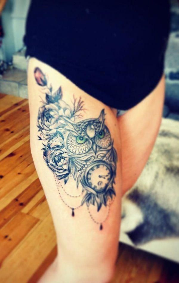 Greeneyes Owl Tattoo With Clock And Roses On Thightattoo Owl Owltattoo Tattooart Tattoo Tattoodesig Owl Thigh Tattoos Cute Owl Tattoo Owl Tattoo Design