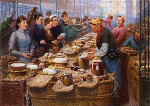 Cream and Cheese Merchants of Les Halles (Paris) by Edouard-Jean Dambourgez (1844 - 1890)