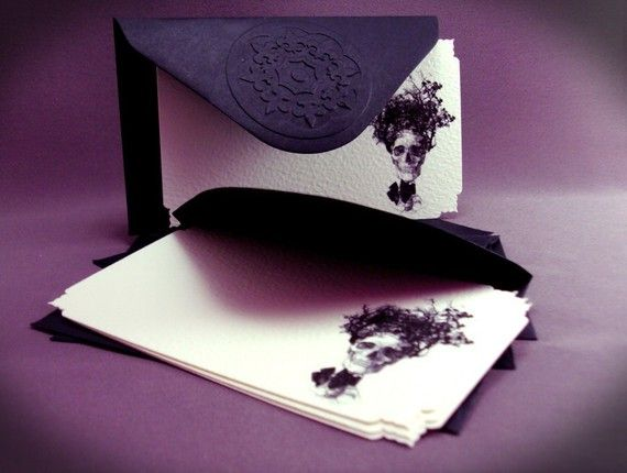Victorian Cards and Black Envelopes from damefrenchdeserts on Etsy $8