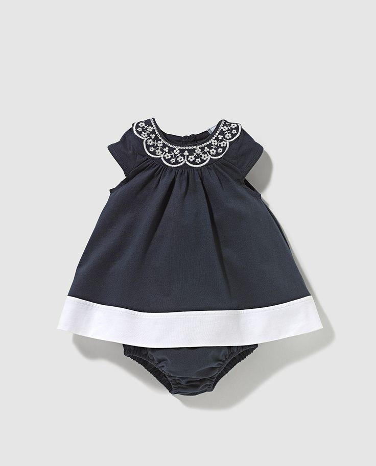 Vestido de bebe niña Freestyle azul marino con bordado