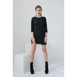 Fringe skirt #minimalism #allblackeverything