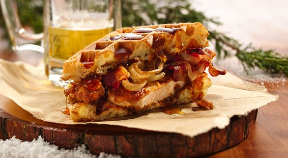 Man-tastic manly beer batter waffle chicken sandwich. This even looks ...