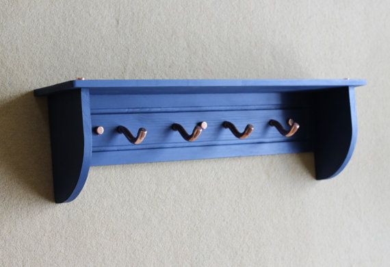 Wooden Coat Rack with Shelf and Copper Hooks by InWoodCraft