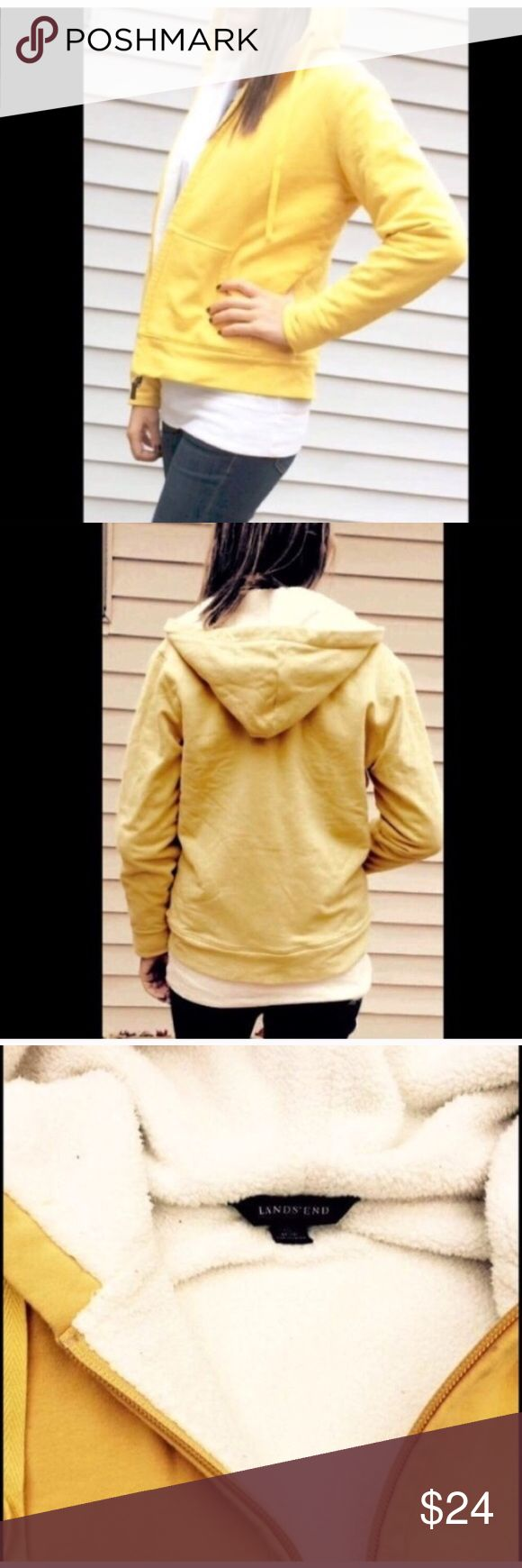 Women's LANDS'END Yellow Zip Up Hoodie Women's LANDS' END zip up jacket. Color is yellow with white inside. Very warm and in great condition, only worn a few times. Lands' End Jackets & Coats