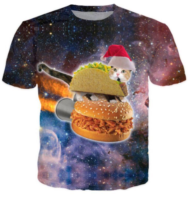 Harajuku women men 3d galaxy print t shirt space Christmas Hamburger Taco cat printed Tshirts t-shirts cartoon tops tees //Price: $22.00 & FREE Shipping //     #funnycats