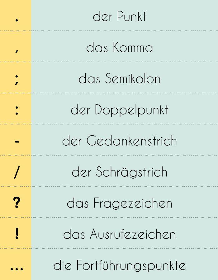 #Satzzeichen im Deutschen - diesmal habe ich entsprechende #Wörterbucheinträge (duden.de) zu jedem Satzzeichen hinzugefügt. Habt Spaß beim Lernen!