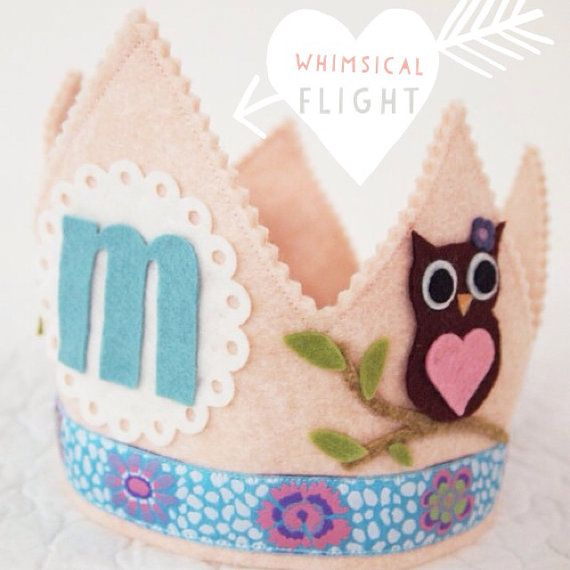 Girl Owl Birthday Crown - Woodland Girl Party on Etsy, $32.00