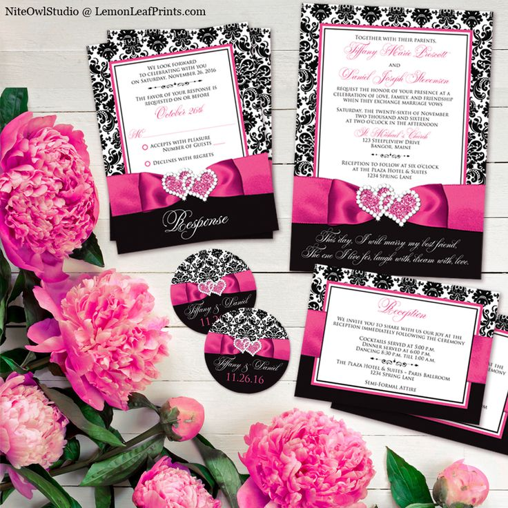 Hot pink, black and white damask, ribbon, and double heart jewel wedding invitation set. This design features vintage, retro black and white damask paired with a hot pink ribbon and an interlocking hearts jewel. The ribbon and jewel is simulated by the graphic and is printed on. There are no 3D embellishments. An affordable way to get an elegant look!