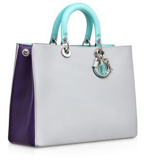 Dior Gris Poudre/Violet and Bleu Azur Diorissimo Large Bag