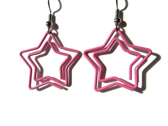 Pink star earrings paper clip earrings pink paper door EraOfCrea