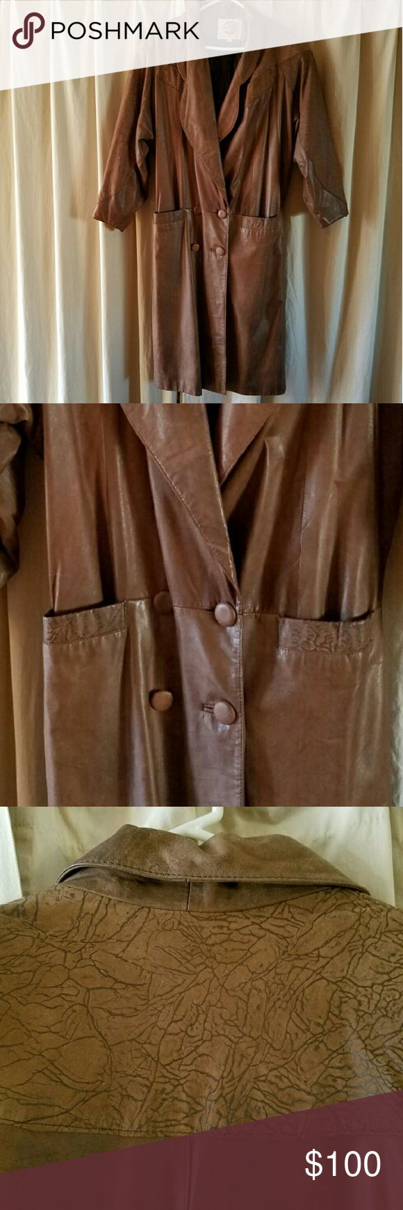 Bought at Wilson's leather store....full length Extra soft worn leather...gently used.....normal wear....rn54163 global identity Jackets & Coats Trench Coats