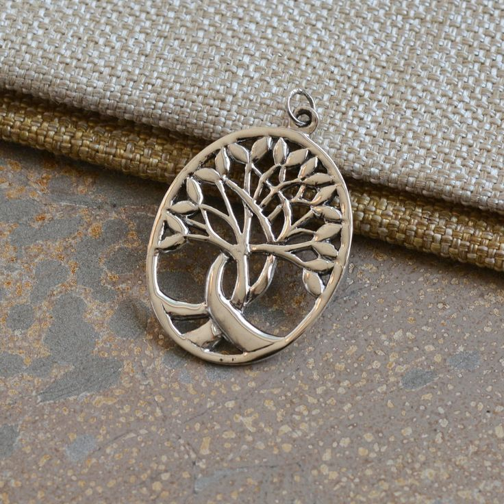 Sterling Silver Oval Tree of Life Pendant,Woven Branches,Sacred Tree Pendant,Modern Tree of Life, Silver Pendants,Tree Pendants,One,JH16-001 by WanderlustWorldArts on Etsy